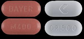 Avelox (left) Cipro (right) pills