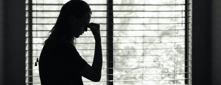 Woman distressed during quarantine