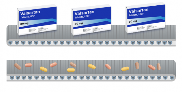 Conveyor belt with valsartan medicine