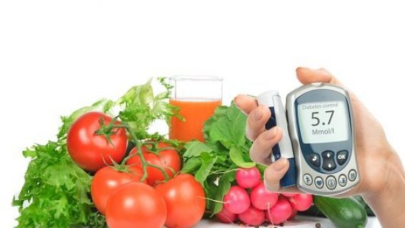 Vegetables and blood sugar monitor