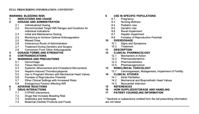 Contents of the full prescribing information