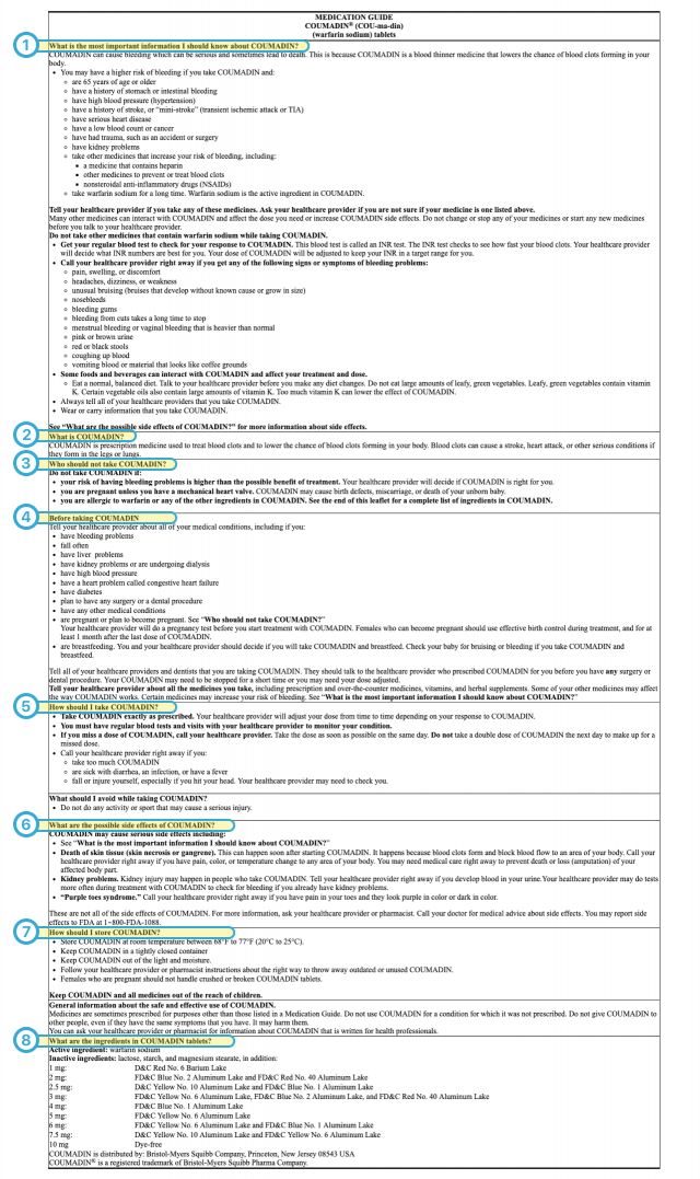 Information in a medication guide