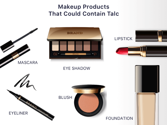 Makeup products in which talc can be found