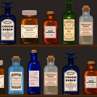 Old apothecary. Vintage bottles on wooden shelves.