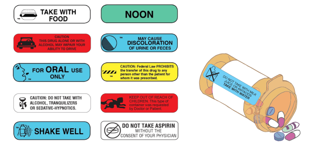 Pharmacy auxiliary warning labels