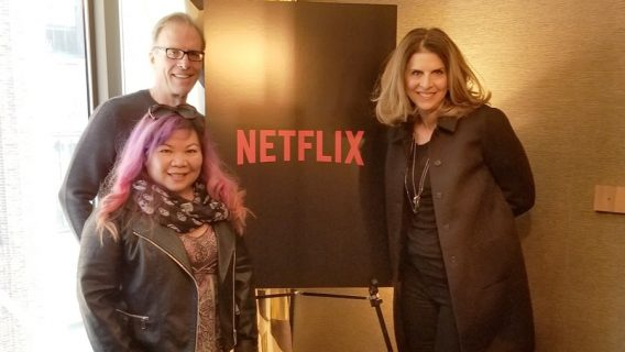 Kirby Dick, Michelle Llamas and Amy Ziering at the Roxy Hotel Tribeca in New York City. The Bleeding Edge premiered at the Tribeca Film Festival in April 2018.