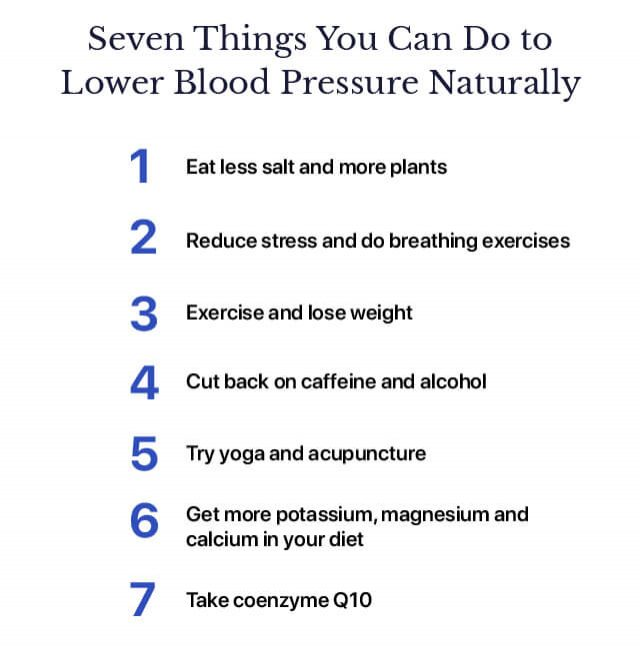 Seven Things You Can Do to Lower Blood Pressure Naturally