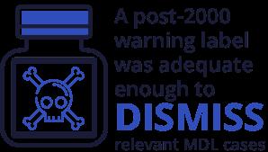 post-2000 warning label resulted in MDL dismissals