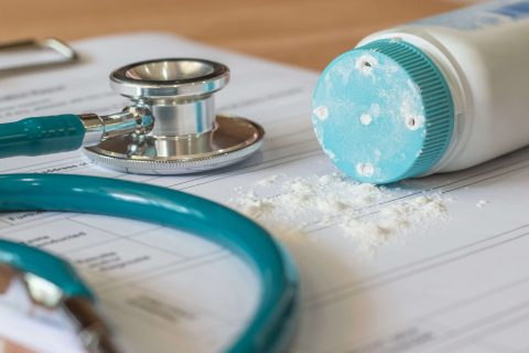 baby powder and stethoscope