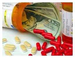 Prescription bottle with twenties and pills