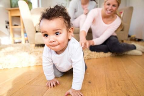 Baby boy crawling