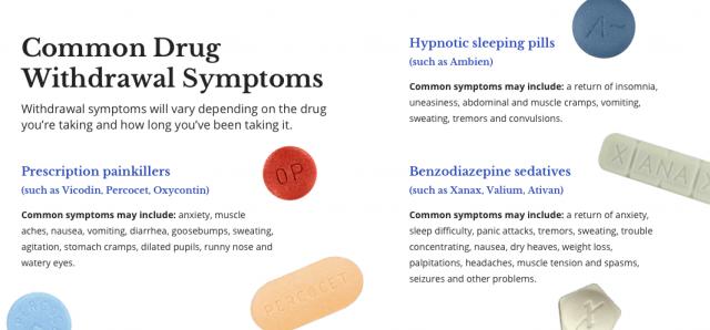 Common drug withdrawal symptom infographics