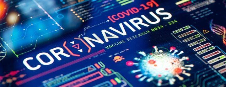 Screen with coronavirus (COVID-19) laboratory research