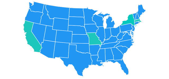 Map of US highlighting CA, MA, MO & NY