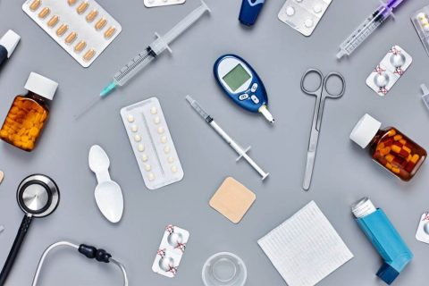 medical devices spread on a table