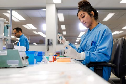 Woman working in a lab checking a blood sample