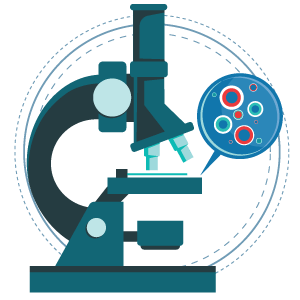 Illustration of microscope and live vaccines