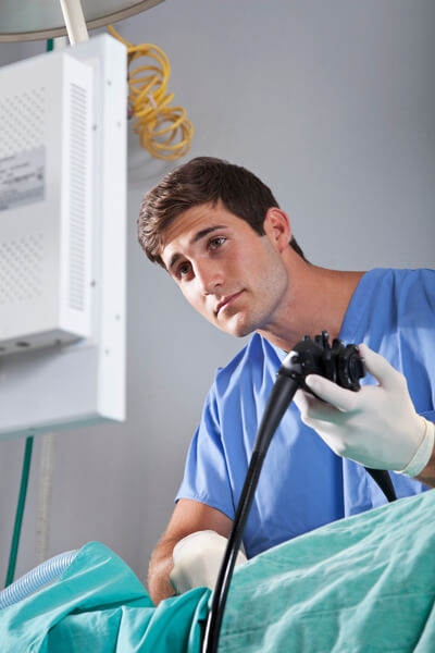 Doctor using an endoscope