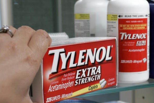 Hand reaching for box of Tylenol