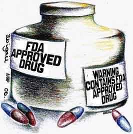 cartoon mocking FDA warnings