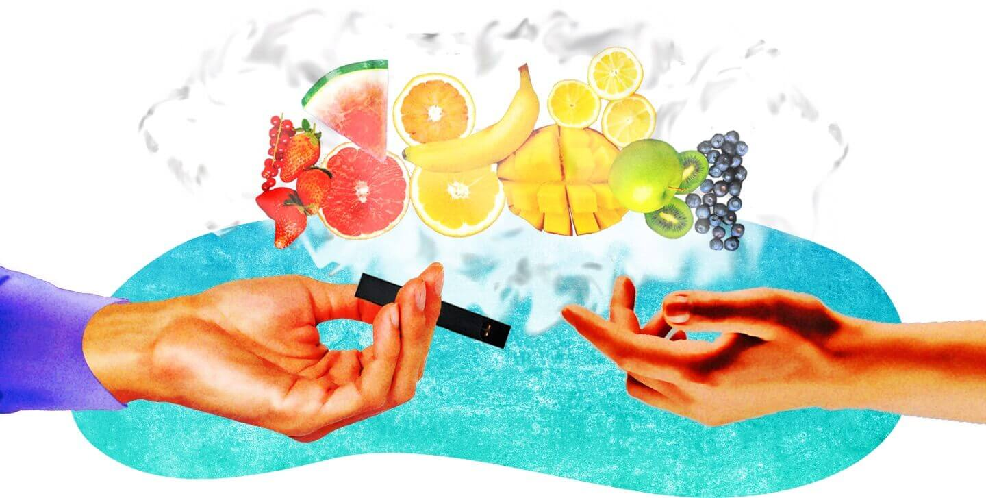 Hands passing flavored vape