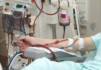 Patient receiving dialysis