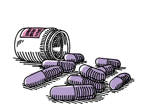 Illustration of spilled pill bottle