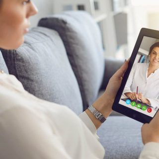 A patient using telemedicine for a doctor's appointment