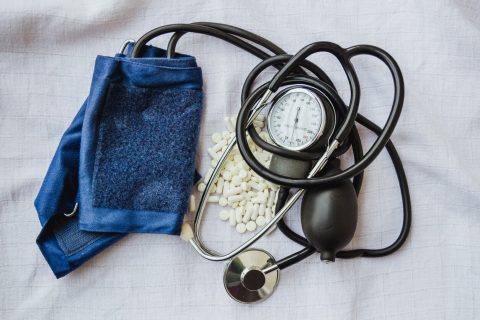 Blood pressure meter and white pills