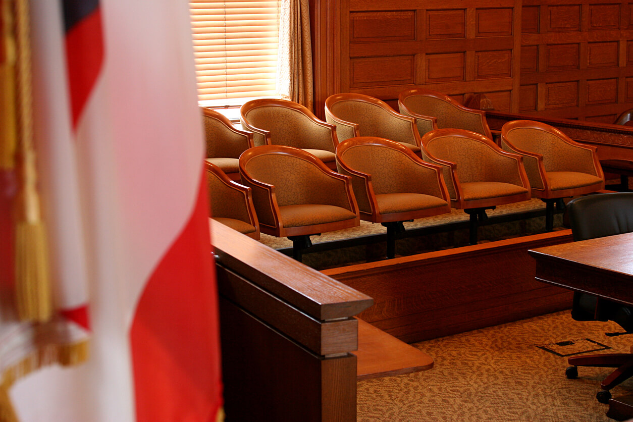 Jury seats in a courtroom