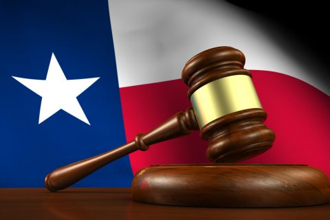 Texas flag with gavel