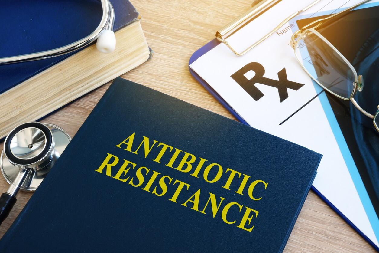 Medical book on antibiotic resistance bacteria