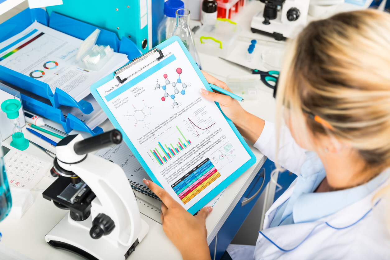 scientist checking drug results