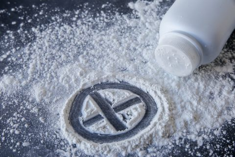 Talcum powder with cross