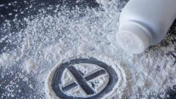Talcum powder with cross