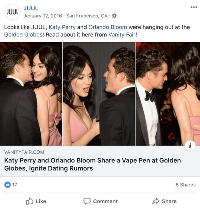 Katy Perry and Orlando Bloom in a Juul Facebook post