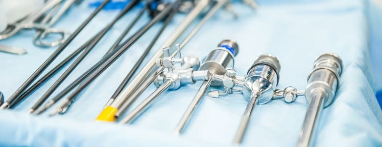 medical devices on operating tray
