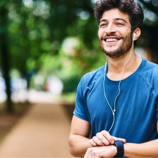 healthy male running outdoors