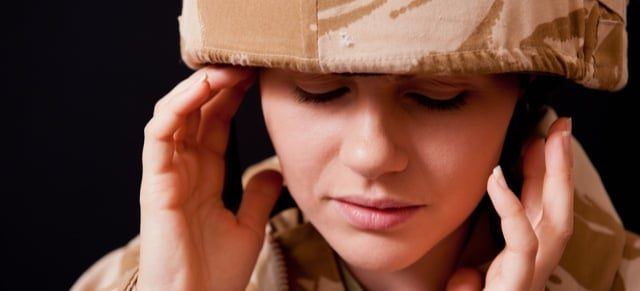 Military member suffering from hearing loss