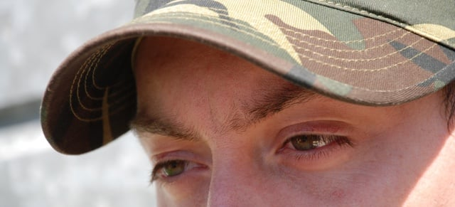 Close-image of army soldier's eyes