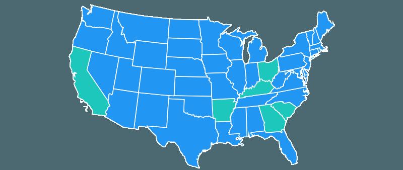 U.S. map with California, Arkansas, Georgia, Kentucky, Ohio, & S. Carolina highlighted