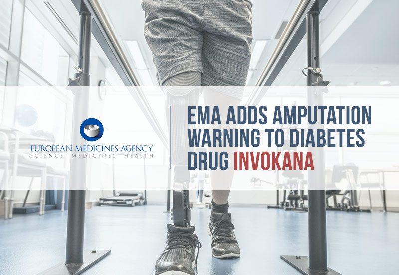 man with amputated leg. text reads: EMA adds amputation warning to diabetes drug invokana.