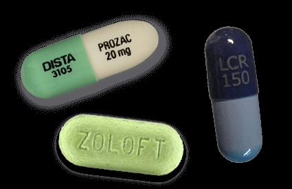 Prozac, Zoloft and Luvox pills