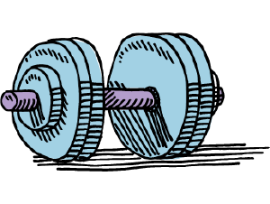 Illustration of a dumbbell