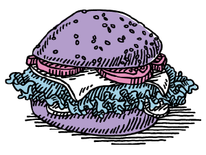 Illustration of a greasy hamburger