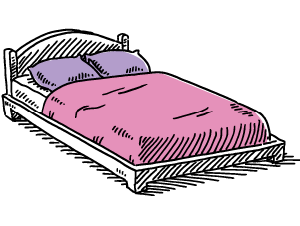 Illustration of a bed