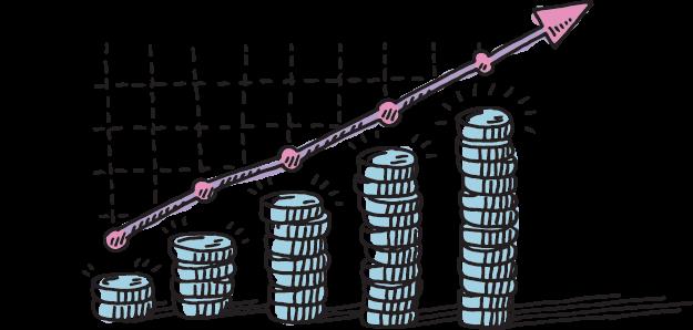 Illustration of a chart showing company profits
