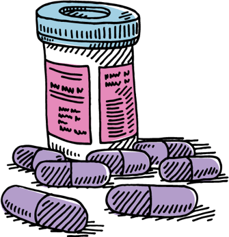 Illustration of prescription bottle with pills surrounding it