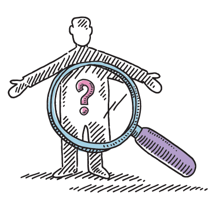 Illustration of magnifying glass on a human body