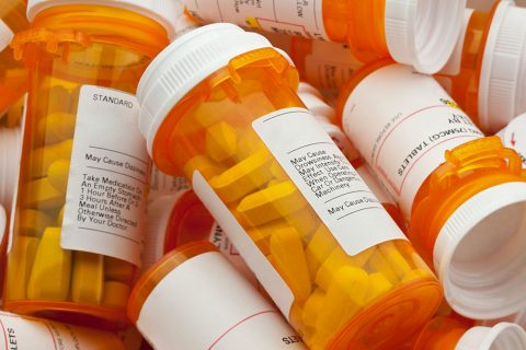 Pile of assorted prescription drugs